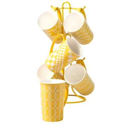 Tabletops Unlimited® 7-Piece Mug Tree Set in Yellow
