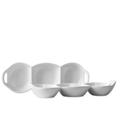 Tabletops Unlimited® Blanc de Blanc 3-Section Condiment Trays (Set of 2)