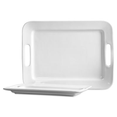 Tabletops Unlimited® Blanc de Blanc 2-Piece Stoneware Serving Tray Set
