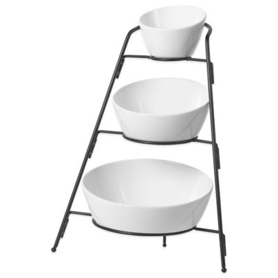 B.Smith 3-Tier Appetizer Bowls with Metal Stand