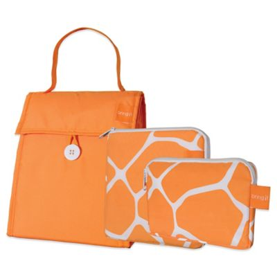 Insulated 3-Piece Lunch Bag Set in Orange/Giraffe