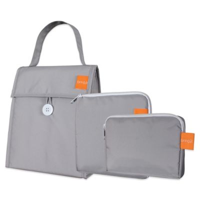 Insulated 3-Piece Lunch Bag Set in Titanium