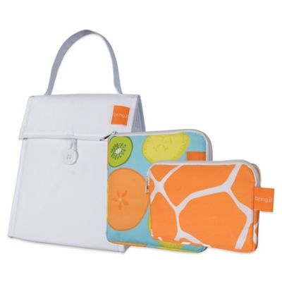 Insulated 3-Piece Lunch Bag Set in White/Fruit/Giraffe