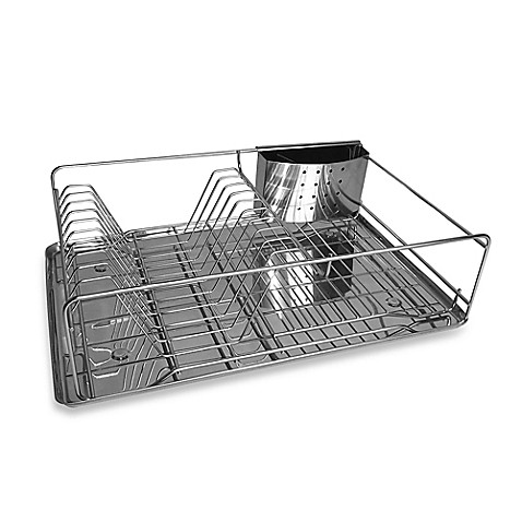 org stainless steel dish rack with drain board bed bath beyond. Black Bedroom Furniture Sets. Home Design Ideas