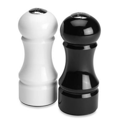 Olde Thompson Victoria Salt & Pepper Shaker Set in Black and White