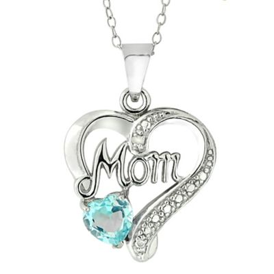Sterling Silver Genuine Blue Topaz Mom Heart Pendant