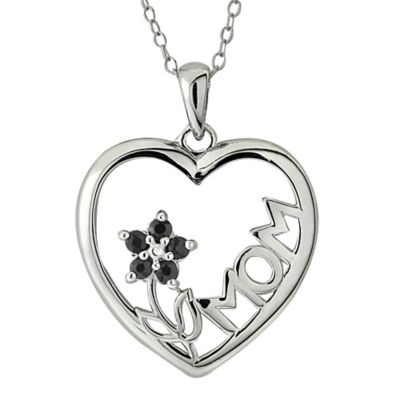 Sterling Silver Sapphire Flower Mom Heart Pendant