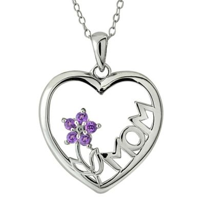 Sterling Silver Amethyst Flower Mom Heart Pendant