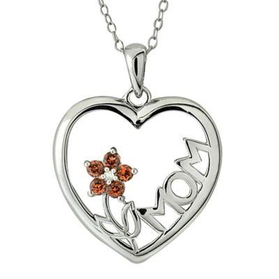 Sterling Silver Garnet Flower Mom Heart Pendant