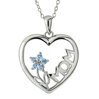 Sterling Silver Blue Topaz Flower Mom Heart Pendant