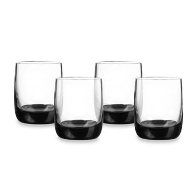 Qualia Ebony Double Old-Fashioned Glasses in Clear/Black (Set of 4)