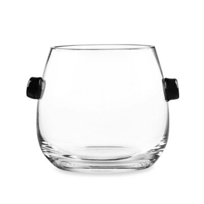 Qualia Ebony Trimmed Glass Ice Bucket in Clear/Black with Tongs