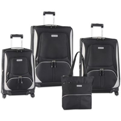 Nautica® Downhaul 4-Piece Spinner Luggage Set in Black/Grey