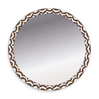 Chevron 19-Inch Square Wall Mirror in Ivory/Brown