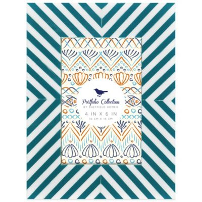 Portfolio Home Bias Striped 4-Inch x 6-InchPicture Frame in Turquoise and White