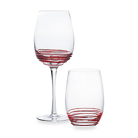 Mikasa swirl goblets and stemless wine glasses in red - Stemless wine goblets ...