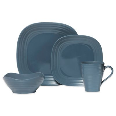 Mikasa® Swirl Square 4-Piece Dinnerware Set in Blue
