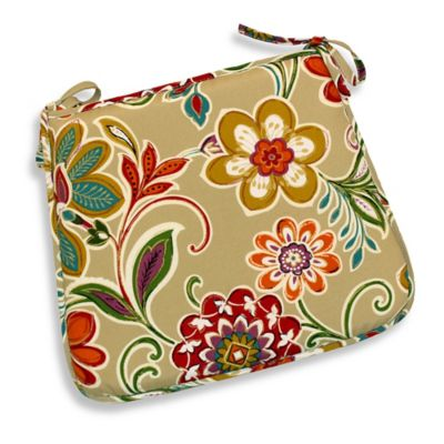Modern Floral Bistro Chair Cushions in Spice (Set of 2)