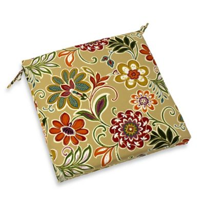 Modern Floral Dining Seat Cushion in Spice