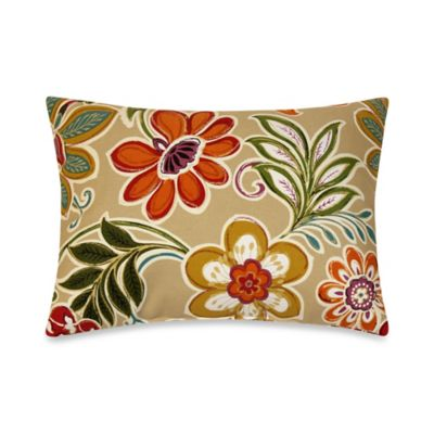 Modern Floral Oblong Toss Pillows in Spice (Set of 2)