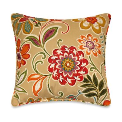 Modern Floral Square Toss Pillows with Corded Trim in Spice (Set of 2)