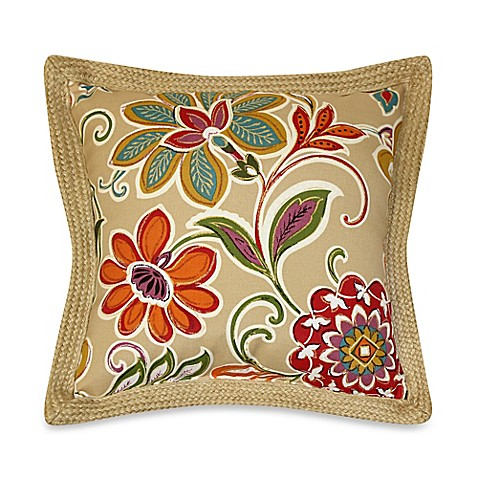 Modern Floral Pillow : Buy Modern Floral Square Toss Pillows with Jute Trim in Spice (Set of 2) from Bed Bath & Beyond