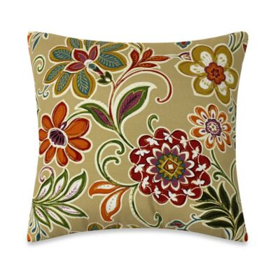 Modern Floral Square Toss Pillows in Spice (Set of 2)