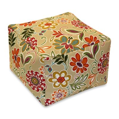 Modern Floral Cube Pouf in Spice