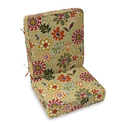 Modern Floral 2-Piece Deep Seat Cushion in Spice