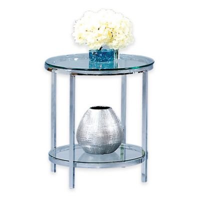 Bassett Mirror Company Patinoire Round End Table in Polished Chrome