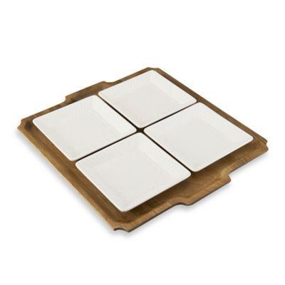 Mikasa® Italian Countryside Square Plates with Acacia Tray
