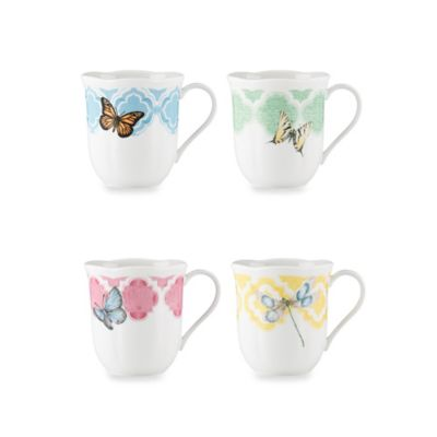 Lenox® Butterfly Meadow® 10-Ounce Trellis Dessert Mugs (Set of 4)