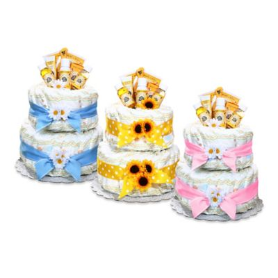Burt's Bee Diaper Cake Centerpiece in Blue