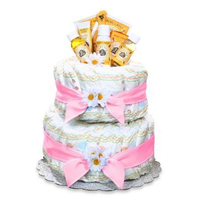 Burt's Bee Diaper Cake Centerpiece in Pink