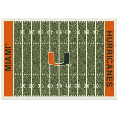 University of Miami 5-Foot 4-Inch x 7-Foot 8-Inch Medium Home Field Rug