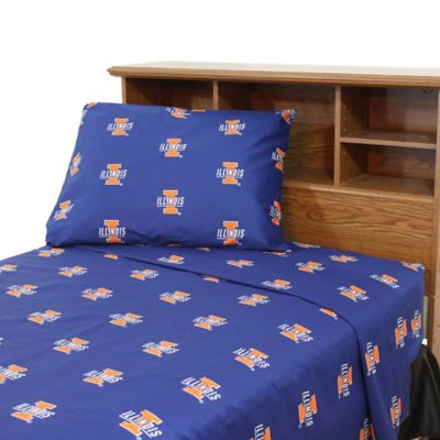 NCAA University of Illinois Twin XL Sheet Set