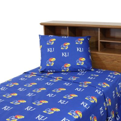 University of Kansas Queen Sheet Set