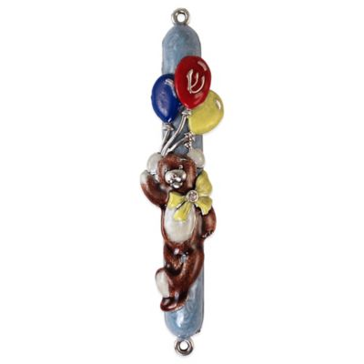 Quest Collection Hand Painted Blue Teddy Bear Mezuzah
