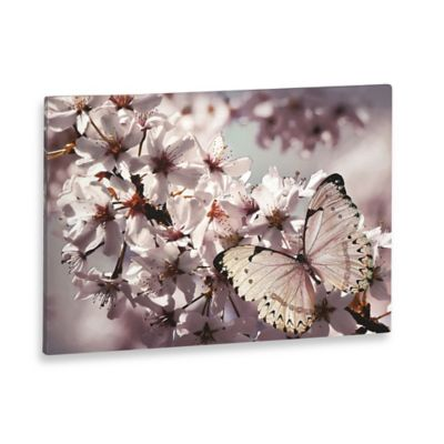 Glitter Butterfly and Branch Canvas Wall Art