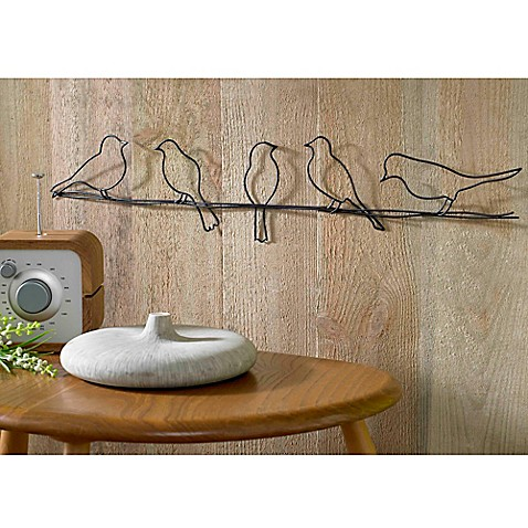 Buy bird on a wire metal wall art from bed bath beyond for Decoration murale ginkgo