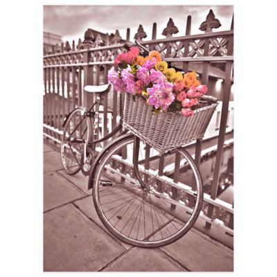 Flower Basket Bicycle Canvas Wall Art
