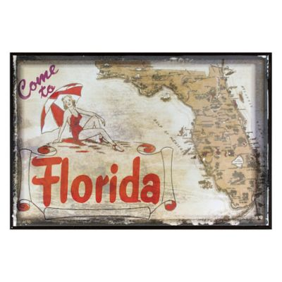 Florida Greetings Postcard on Box Wall Art