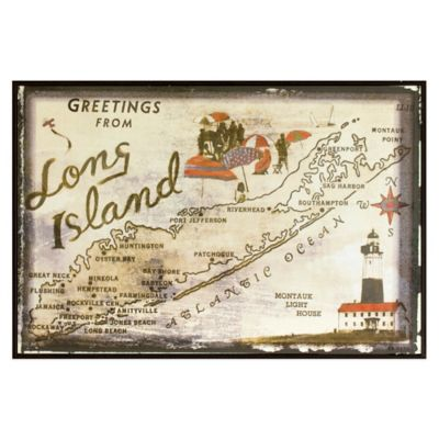 Long Island Greetings Postcard on Box Wall Art