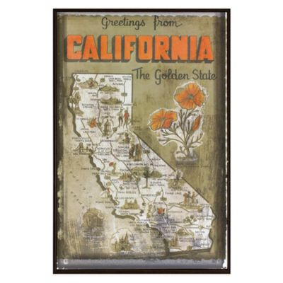 California Greetings Postcard on Box Wall Art