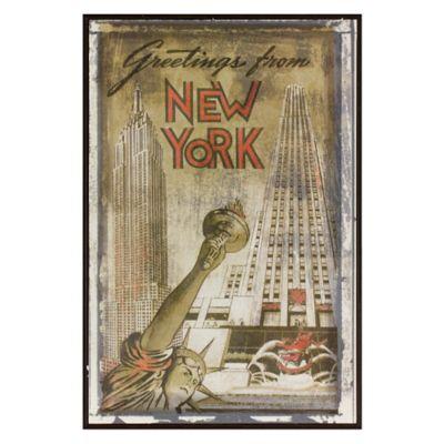 New York Greetings Postcard on Box Wall Art