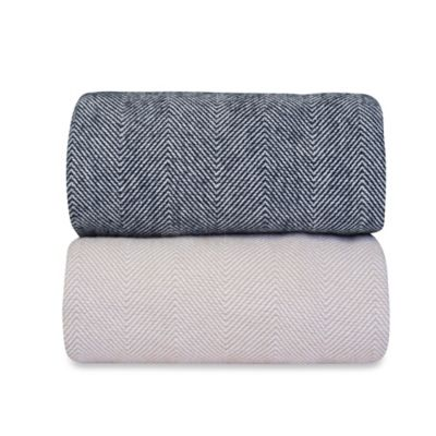 Taupe White Throw Blanket