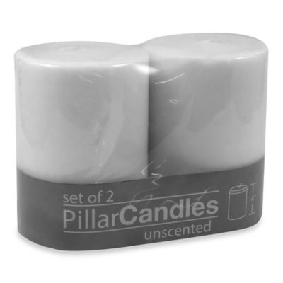 3-Inch x 4-Inch Unscented Pillar Candles in White (Set of 2)