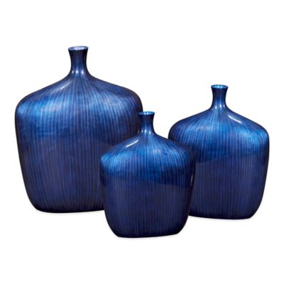 Howard Elliott® Sleek Vase in Cobalt Blue with Brushed Black Accents