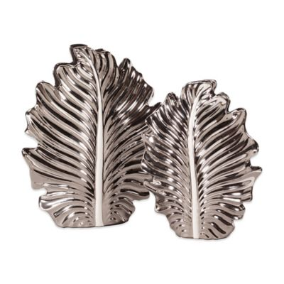 Howard Elliot® Nickel Plated Leaf Vases (Set of 2)