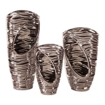 Howard Elliot® Nickel Plated Abstract Ribbed Vases (Set of 3)